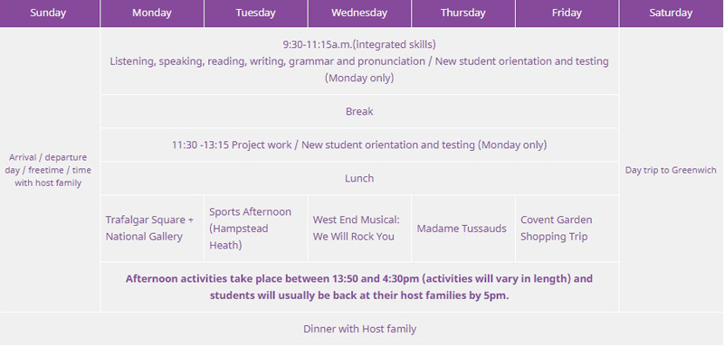 Sample time table